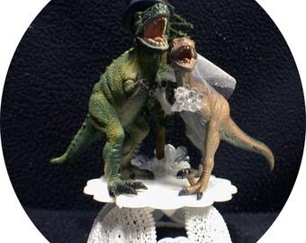 Dinosaur Cake Topper Wedding Decoration Funny Cake Topper Jurassic Park Wedding  T-Rex Groom top Caveman Centerpiece