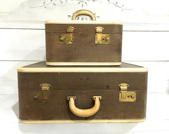 Vintage Suitcase Luggage Set Brown Tan Midcentury