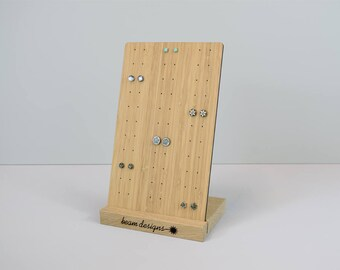 Stud Earring Display for 33 Pairs, Personalised Jewellery Display Stand, Retail Display, Craft Display, Wooden Jewelry Holder, Earring Board