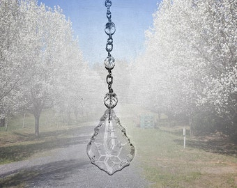 Celestial Crystal Sun and Moon Suncatcher. Window Prism. Sun Catcher.