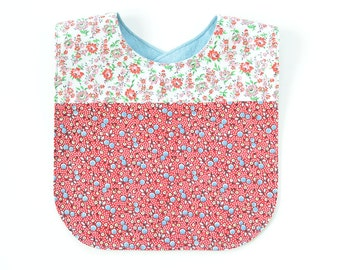 Vintage Fabric Patchwork Bib | Pink/Red Dainty Floral Calico | Cute Baby Shower Gift