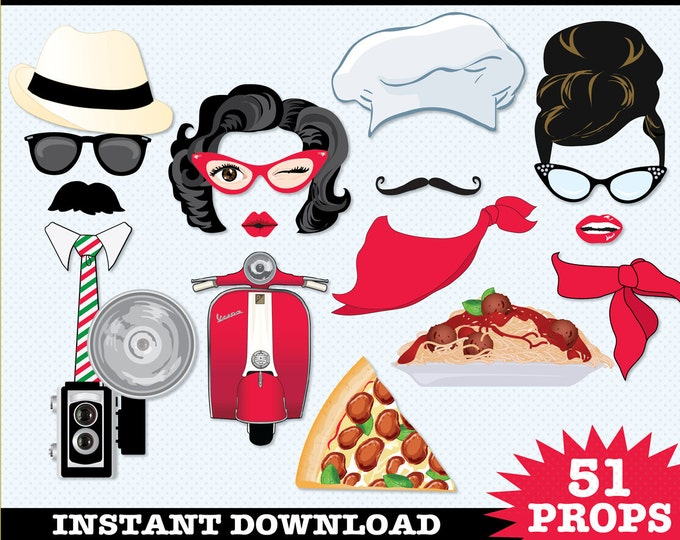 Italian Photo Booth Props, Pizza Party, Spaghetti Dinner, Chef Hat, Pizza Delivery, Pizza Pie- Instant Download PDF - 51 DIY Printable Props