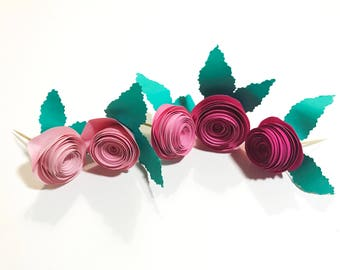 Rose Flower Cupcake Toppers, Tea Party, Birthday, Bridal Shower, Baby Shower, Engagement, Party Cupcake Toppers