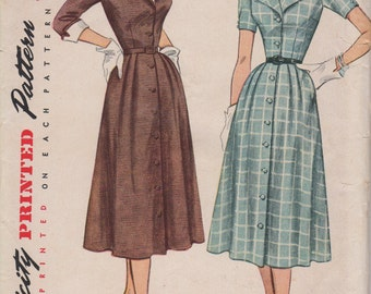 Bust 32- FACTORY FOLDED 1950's Misses' Dress With Detachable Collar and Cuffs Simplicity 3539 Size 14