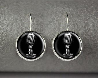 Microphone earrings, Retro microphone earrings, Microphone jewelry