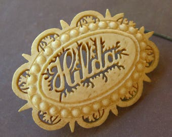 Victorian Name Brooch TLC 1890s Antique Carved Deer Antler Jewelry Hilda Pin Name Badge