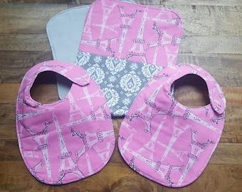 Baby Bib and Burp Cloth Set - Pink Eiffel Tower