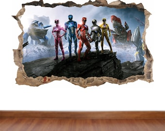Power Rangers - hole in the wall feature Colour Wall Sticker Decal  Poster Vinyl in 4 sizes