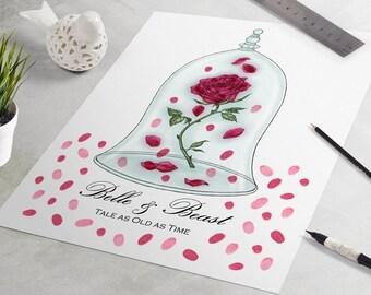 Wedding Guest Book: Disney Wedding Guestbook, Beauty and the Beast, fingerprint tree, guest book alternative, Enchanted Rose, Disney Wedding