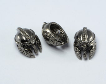 15pcs Gladiator Helmet Beads in Gun Metal, Spartan, Roman, Warrior, Side Drilled Metal Beads #SD-S8120