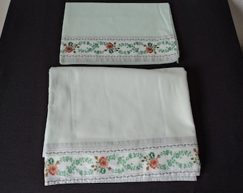 French vintage babies cotton sheet and pillowcase (05699)