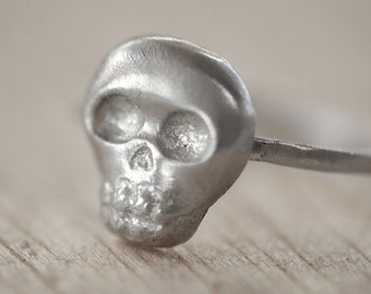Baby Skull Ring, Mini Skull, Brushed Sterling Silver, Handcrafted, Day of the Dead, Skeleton, Halloween. BABY SKULLY RING.