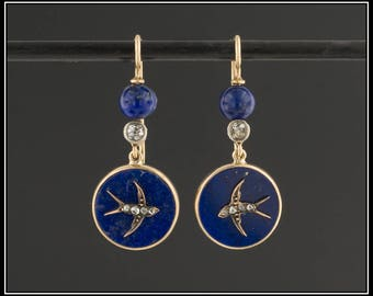 Antique Lapis Swallow Earrings | Lapis and Diamond Bird Earrings | Antique Bird Earrings | Swallow Earrings | Lapis Lazuli Earrings