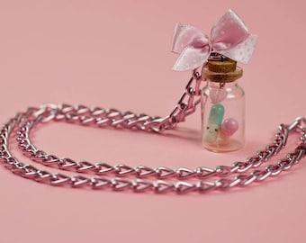 Chunky curb chain Kawaii vial necklace
