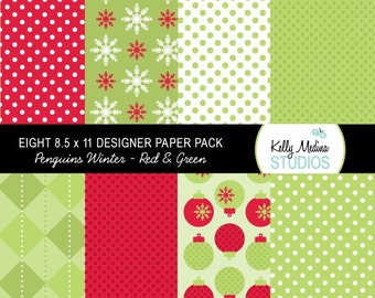 Christmas Penguin Winter Red and Green - Designer Paper Pack Set Digital Elements for Cards, Stationery and Paper Crafts and Products
