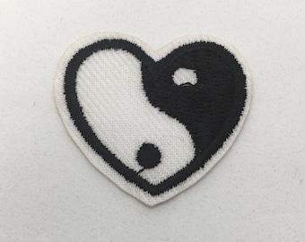 Yin Yang Heart - Iron on Appliqué Patch