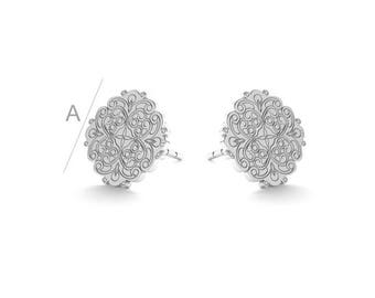 Floral Sterling Silver Earrings Gold Plated Gift 10 mm