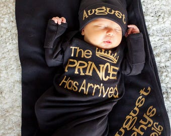 Prince Has Arrived Newborn boy black and gold bodysuit - take home outfit - Newborn gown - Baby Boy Gift - Hat and blanket Sold Separately