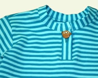 striped organic cotton jersey shirt light blue / turquoise or purple / white