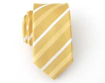 Mens Tie.  Yellow and White Stripes Men's Skinny Tie