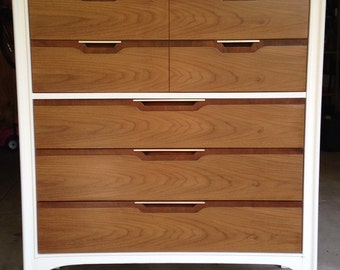 SOLD - Sleek Kent-Coffey Highboy Dresser - Pure White and Stained