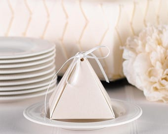 Favor Boxes / Pyramid Favor Box, Ecru Shimmer with Ribbon / Package of 25 Favor Boxes with 25 Ivory Ribbons