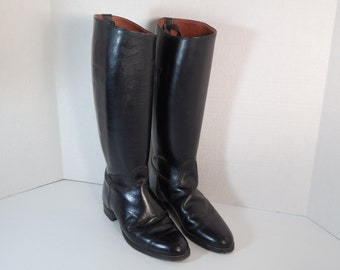 Vintage Colt Cromwell Black Equestrian Riding Boots Size 6 Size 6 1/2 Black Leather Tall Calf Interior Calf Strap English Riding Tack Boots