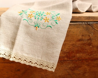 Natural Linen Sauna Bath Towel with Lace and Embroidery, Handmade, Large size, Grey, 100% Pure Linen Guest Towel, Eco-friendly Gift