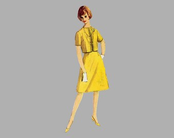 1964 Dress pattern Simplicity 5398 Bust 38 inches One-piece dress Two skirts Jacket Jewel neckline Sleeveless dress Short sleeve jacket