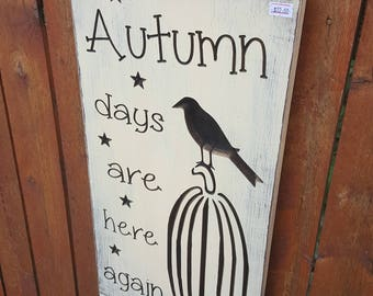 """READY TO SHIP - """"Autumn Days Are Here Again"""" - 10x20 - Cream"""