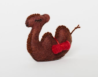 Felt Camel Ornament, Grace Camel Brown, Felt Christmas Ornament