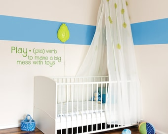 Definition of Play Removable Wall Vinyl Words, playroom toys making a mess kids room childrens room playing with toys playroom wall vinyl