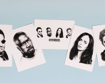 The Defenders Set of 5 Art Postcard Prints - Daredevil, Jessica Jones, Luke Cage & Iron Fist - Marvel and Netflix