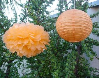 Orange Tissue Paper Pom Pom & Lanterns - Wedding Baby Shower Engagement Birthday Party Baptism Nursery Home Housewarming Decor