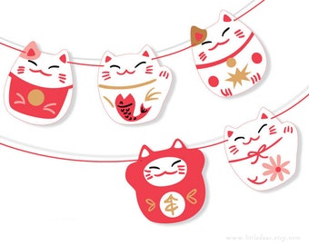 DIY Printable Lucky Cats Banner PDF digital download Scrapbook Party Decorations Chinese Lunar new year