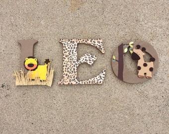 Safaril Letters, Safari Wooden Letters, Safari Nursery Decor, Safari Wood Initials, Safari Bedroom Decor, Safari Nursery Decor