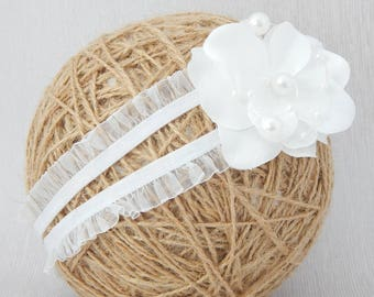 Baby white flower double hair band, headband for baptism christening wedding, flower girls