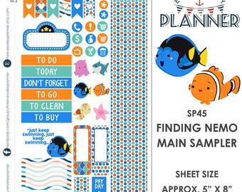 NEMO & FRIENDS Sampler Kit | Over 30+ Kiss-Cut Stickers | Erin Condren and Mambi  | Disney Inspired   SP045