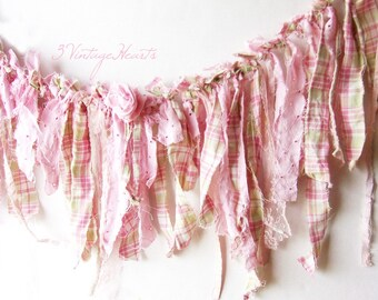 Pink Green Shabby Tattered  Rag Garland * Plaid Pastel Garland * 3ft photo backdrop * Nursery Decor * Cottage Charm