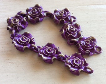 """NEW!  PEWTER magentaPearl rose chain 6"""" pc"""