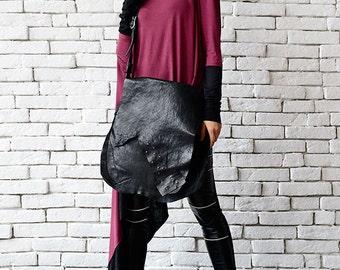 Black Leather Bag/Asymmetric Genuine Leather Tote/Extravagant Clutch/Large Black Purse/Leather Shoulder Bag/Modern Zipper Bag/Black Tote