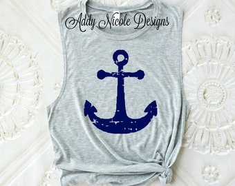 Anchor Tank Top, Nautical Tank Top, Summer Tank, Muscle Tank, Workout Tank, Beach Tank, Vacation Tank