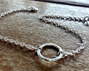 Silver Textured Ring Anklet - Friendship Hoop Jewelry - Ankle Bracelet Gifts for Her