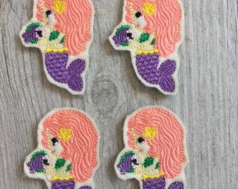 Mermaid with Coral Hair Feltie Set of 4 - Summer Feltie - Ocean Feltie - Mermaid Feltie