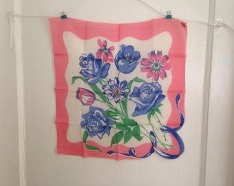 Vintage Floral Handkerchief, Vintage Spring Flowers Handkerchief, Vintage Pink Blue Green Handkerchief, Vintage Floral Hanky