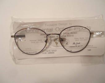 NOS La Scala 970 Antique Gold Demi Amber Eyeglass Frames 49 19 140 Lot 63