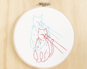Anaglyph Cat Attacks Hand Embroidered  Hoop Art, Wall Art