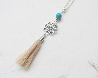 Mandala necklace, yoga necklace, tassel necklace