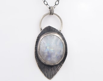 Rainbow Moonstone  - Sterling Silver - Hammered - Necklace