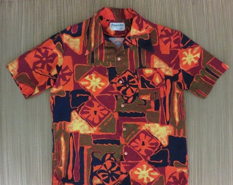 Vintage Hawaiian Shirt 60s KONA KAI Jantzen Tiki Tribal Tapa Atomic Rockabilly Super Mod Masterpiece Mens - M - Oahu Lew's Shirt Shack